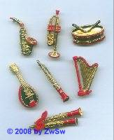 Saxophon, 35mm lang mit rot, 1 Stück