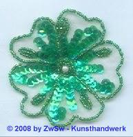 Blume mit Blätter grün/irisierenden, 1 Stück