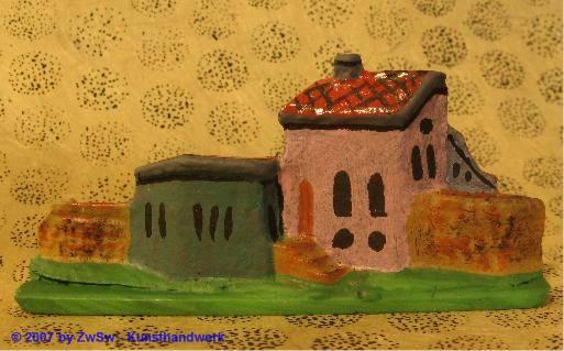Häuserkulisse klein, bemalt, 2,5cm x 7cm