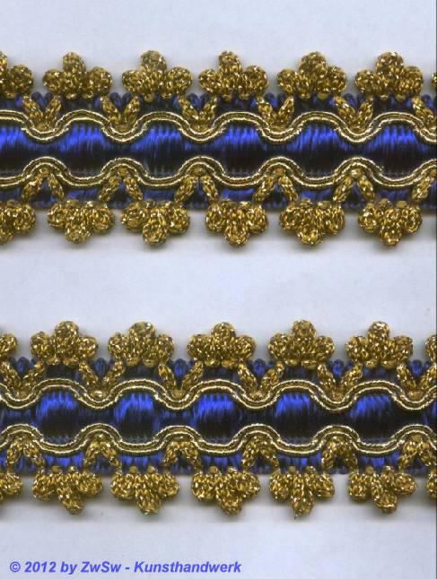 Brokatborte gold mit königsblauer Seide, 1m