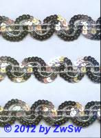 Paillettenborte silber 28mm,  1 Meter