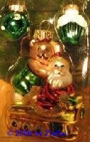 Christbaumkugeln Schlitten mit Bär und Santa