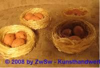 1 Vogelnest mit 3 Eiern