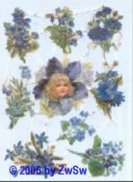Glanzbild Blumen in blau