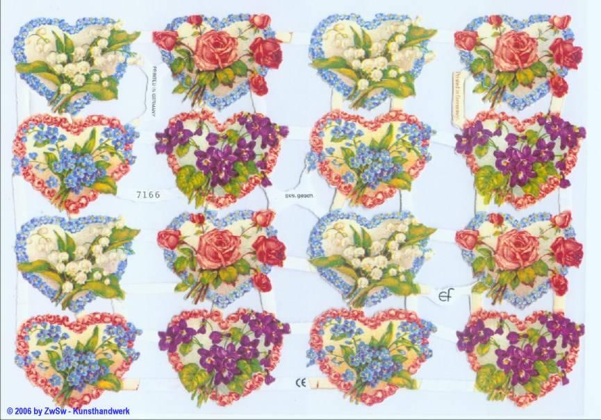 Glanzbild Blumenherzen