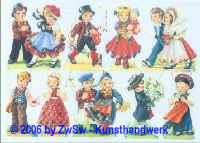 Glanzbild Kinder in Tracht