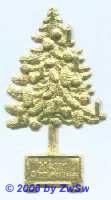 Weihnachtsbaum, beidseitig gold, ca. 65mm x 35mm