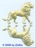 2 Löwen in gold