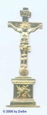 Kleines Kreuz in gold mit Sockel