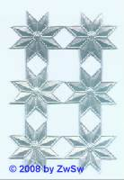 6 St. Sterne/ Strahlenkranz 3 cm silber