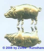 Schweinchen goldgeprägt 1 Bogen, 4,5cm x 2cm