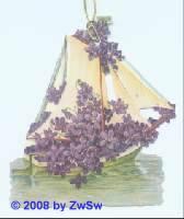 Geschenkanhänger Veilchenschiff