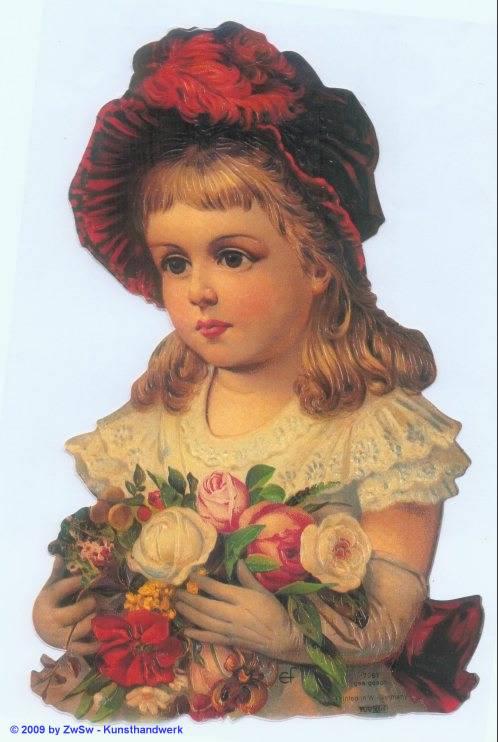Glanzbild Mädchen mit Blumenstrauß ohne Glimmer