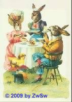 Schmuckkarte Hasenfamilie beim Kaffee