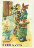 Schmuckkarte Osterhase am Telefon
