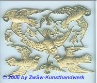 Tauben, einseitig gold, ca. 100mm x 75mm