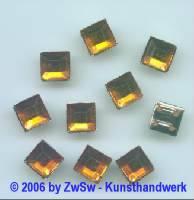 Quadrate gefasst, 1 Stück, 8mm x 8mm bernstein