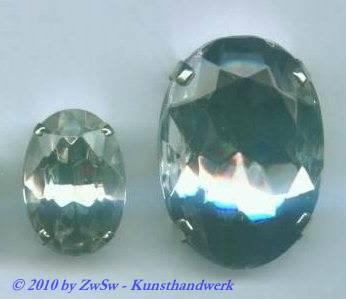 Schmuckstein gefasst 14mm x 10mm kristall
