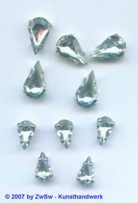 Schmuckstein Tropfen gefasst 13mm x 8mm kristall