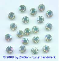 Schmuckstein gefasst kristall/AB Ø 6,5mm