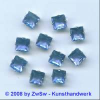 Schmuckstein gefasst blau 1 Stück 8mm x 8mm