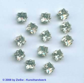 Schmuckstein gefasst kristall 1 Stück 8mm x 8mm