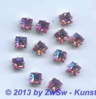 Schmuckstein gefasst rosa/AB 1 Stück 6mm x 6mm