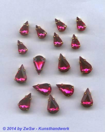 1 Schmuckstein gef. pink 10mm x 6mm gold