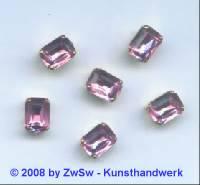 1 Schmuckstein gef. rosa 8mm x 6mm gold