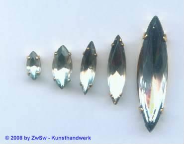 1 Schmuckstein gef. kristall 15mm x 7mm gold