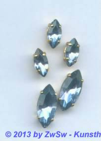 1 Schmuckstein gef. light safir, 10mm x 5mm gold