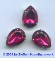 1 Schmuckstein gef. pink 18mm x 13mm silber