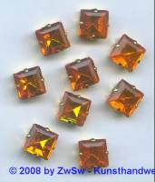 1 Schmuckstein gef. orange 10mm x 10mm gold