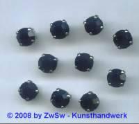 1 Schmuckstein gef. schwarz, Ø 8mm, silber
