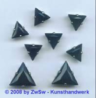 1 Schmuckstein gef. schwarz, 12mm, silber