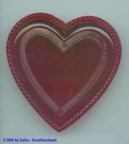 Herz rot  aus Acryl, gemustert 65mm x 67mm
