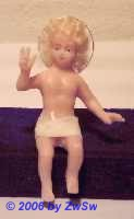 Segnendes Jesuskind, echt-Haar, Glasaugen, 10cm