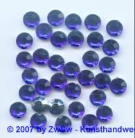 10 Strasssteine aus Acrylglas in dunkelblau, Ø 8mm