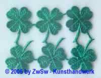 Kleeblätter geprägt, grün, ca. Ø 35mm, 6 Einzelstücke
