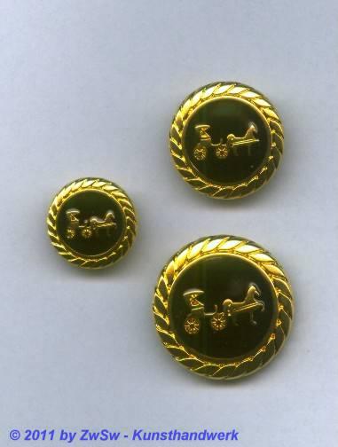 Metallknopf, Ø 18mm, gold/schwarz