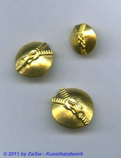 Metallknopf, Ø 17mm, gold/Reißverschluß