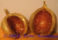 Budhanuss gold mit Glimmer 1 Stück