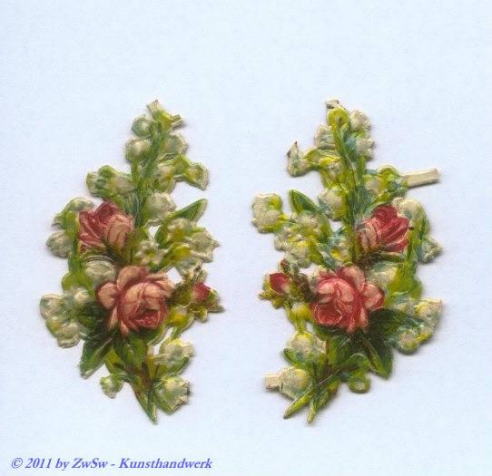 Glanzbild, Rosen mit Maiglöckchen, links