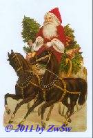 Schmuckkarte Schlitten mit Pferden