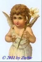 Schmuckkarte Engel mit weißer Lilie