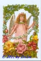 Schmuckkarte Engel im Blumenbogen
