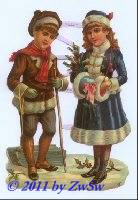 Kinder in Wintertracht ohne Glimmer