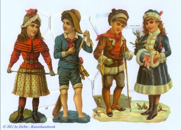Kinder in Sommer und Wintertracht ohne Glimmer