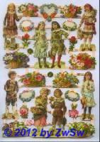 Kinder mit Blumen ohne Glimmer