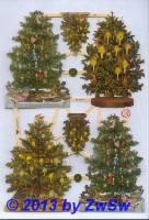 6 Tannenbäume mit Glimmer